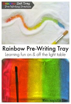 Rainbow Salt Tray for Pre-Writing Practice! A hands-on learning activity that is a fun way for kids to learn letters (both on and off the light table!)