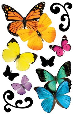 Butterflies 3D Sticker. These 3D dimensional embellished stickers add fun to any craft or photo album project. Perfect for scrapbooking and off-the-page applications, these stickers are acid & lignin