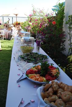 Bridal Shower Brunch Buffet - veggie tray, fruit tray, donuts holes, meat & cheese tray