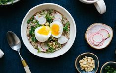 Porridge is a classic breakfast pick for a reason: It's a creamy, healthy, stick-to-your ribs meal. Here, we jazz it up with ginger, soy sauce, and toasted sesame oil—and, of course, we put an egg on it.