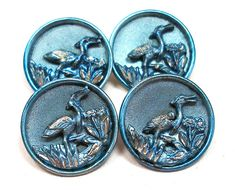 1800s French BUTTONS 4 Victorian birds with by OldeTymeNotions