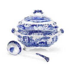 Portmeirion Spode Blue Italian Dinnerware | Portmeirion Spode Soup Tureen and Ladle