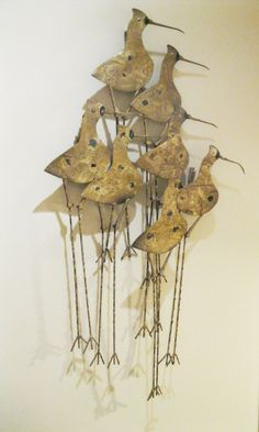 Curtis Jere birds | Curtis Jere - Signed Shore Birds Wall Sculpture