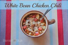White Bean Chicken Chili via http://betterinbulk.net Minus the Chicken?