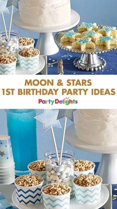 Shoot for the stars with a gorgeous moon and stars birthday party! A wonderful 1st birthday party theme, read on for party decorations, party food and games inspired by Twinkle Twinkle Little Star.