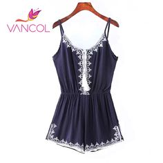Vancol 2016 Women Shorts Jumpsuit Strap Sleeveless Overall Waist Pants Vintage Embroidery Strapless Strap Rompers For Club #Affiliate