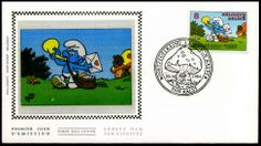 2150 - FDC z/s - Jeugdfilatelie - Smurf by Peyo First Day Covers, Stamp, Comics, Door Bells, Stamps, Comic Book, Comic Books, Comic, Comic Strips