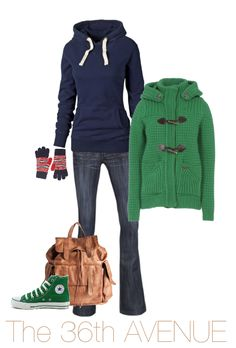 Green and Navy Outfit by the36thavenue.com plus where to find each item in the picture. Perfect for Fall!