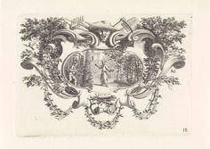 anoniem | Nicolas Boileau-Despréaux in een tuin, workshop of Bernard Picart, 1718 | De schrijver Nicolas Boileau-Despréaux staande in een tuin. Rechts een tuinman met zijn schop. De voorstelling is gevat in een ornamentele lijst met midden boven het gezicht van een tuinman en tuinwerktuigen.