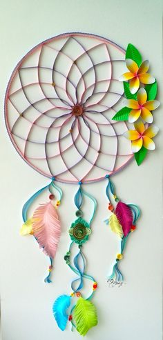 Quilling Art Dream Catcher by BestQuillings on Etsy, Quilling Craft, Quilling Patterns, Quilling Designs, Paper Quilling, Diy Arts And Crafts, Paper Crafts, Quiling Paper, Rolled Paper Art, Paper Quilt