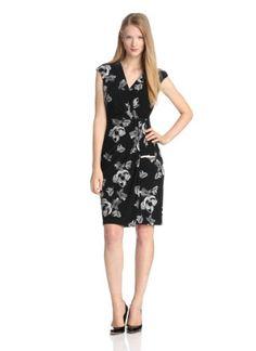 Jones New York Women's Cap Sleeve Jersey Sarong Dress, Black/Ivory, 4 Jones New York,http://www.amazon.com/dp/B00DWXNLQM/ref=cm_sw_r_pi_dp_-Ivutb1AVK7HTY8E