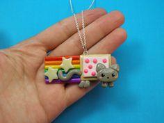Kawaii Nyan Cat Charm Necklace Polymer Clay by PeeWeesClayHouse, $15.00