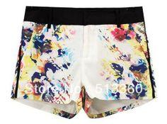 New Fashion Ladies'elegant stylish colors print basic shorts Slim casual OL style brand design shorts free shipping