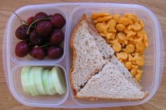 PB&J sandwich (or honey butter and Nutella), Goldfish, cherries (or blueberries or raspberries, and some vegetable