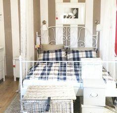 ikea idea. LEIRVIK bed blue duvet cover.