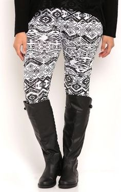 Deb Shops plus black and white aztec printed legging $15.00