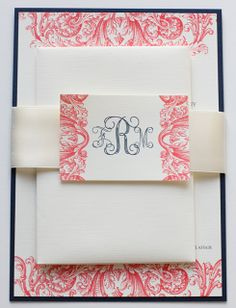 Coral & Navy Wedding Invitations | Blush Paperie
