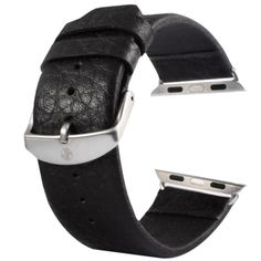 [$9.63] Kakapi Buffalo Hide Brushed Buckle Genuine Leather Watchband with Connector for Apple Watch 42mm(Black)