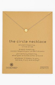 Free shipping and returns on Dogeared 'Reminder - The Circle' Boxed Pendant Necklace at Nordstrom.com. A delicately handcrafted circle pendant adds meaning to a chain-link necklace.