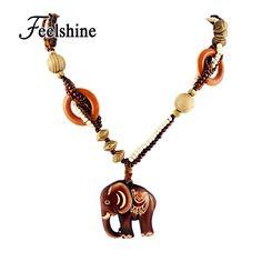 Boho Ethnic Jewelry Long Hand Made Bead Wood Elephant Pendant Maxi Necklace For Women Wholesale Price //Price: $4.99 & FREE Shipping //     #hashtag4