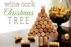 Wine cork Christmas tree tutorial-- Ask Anna. I would dye some of the corks to make it more festive and use a small stump of wood for the trunk. If you can't finish the wine in time, you can actually buy corks on etsy. Cork Christmas Trees, Handmade Christmas Tree, Miniature Christmas Trees, Christmas Wine, Christmas Tree Decorations, Christmas Crafts, Christmas Ideas, Xmas Tree, Christmas Ornaments
