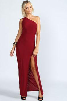 Boohoo Womens Ladies Kylie One Shoulder Front Split Slinky Maxi Day Dresses, Cute Dresses, Beautiful Dresses, Dress Outfits, Evening Dresses, Dress Up, Cute Outfits, Prom Dresses, Fashion Outfits