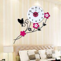 Fabulous Flowers and Birds Mute Decorative Wall Clock