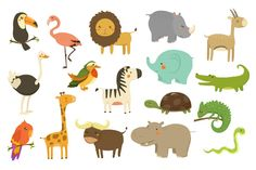 Cute Woodland and Jungle Animals by TopVectors on Creative Market - Animals -
