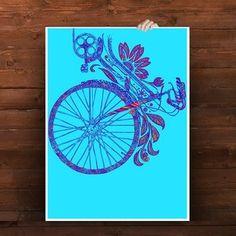Flower Bike Poster