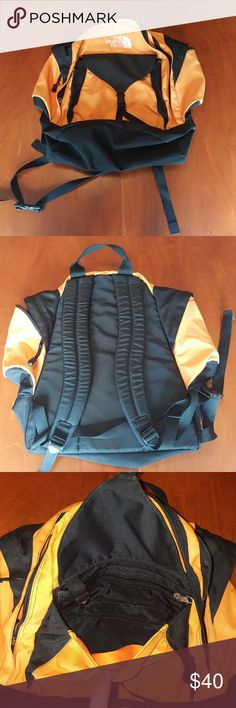 The North Face Backpack Orange & black The North Face Backpack. Tuolumne edition with many pockets including two pockets on side for water bottles. Bag is used but in great condition. The North Face Bags Backpacks