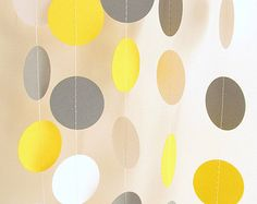 Yellow Gray & White Garland Yellow Gray by FabulouslyHomemade