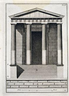 Front elevation of the temple of Hercules at Cori. 1785. Giovanni Antonio Antolini. Italian. 1756-1841. engraving. http://hadrian6.tumblr.co...
