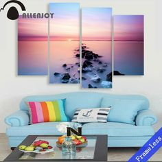 4 Pieces Sunset Sea surface reef purple Modern Wall Art Decor Home Decoration Picture Paint on Canvas Prints Painting Unframed