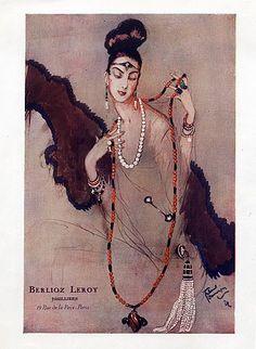 Berlioz Leroy Jewels 1923 J.G.Domergue, Pearls Jewels Vintage advert Jewelry illustrated by Jean-Gabriel Domergue | Hprints.com