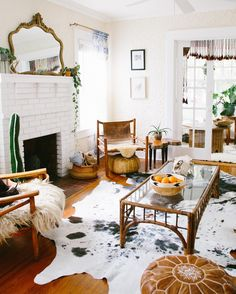 """I might be slightly obsessed with these Nguni cowhide rugs from @zealliving  I'm having so much fun styling these bad boys and layering them throughout…"""