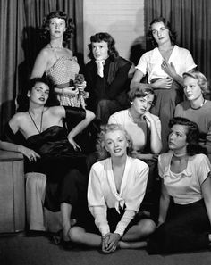 Hollywood starlets; photo by Phillipe Halsman, 1949.  Top row: Lois Maxwell (James Bond's Miss Moneypenny), Suzanne Dalbert, Ricky Soma;  Middle row: Laurette Luez, Jane Nigh, Dolores Gardner;  Bottom row: Marilyn Monroe, Cathy Downs.