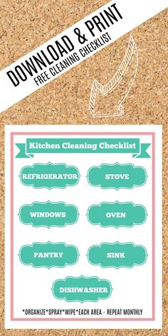 kitchen cleaning checklist - keep your kitchen clean and tidy with this free printable cleaning checklist - download yours now! #kitchen #cleaning #cleaningtips #cleaninghacks #kitchenideas #kitchenorganization #checklist #printable #freeprintable