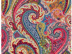 Paisley Linen Fabric - Modern Paisley Upholstery Fabric by the Yard - Pink Blue…
