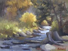 Love this oil painting from UGallery. Mountain Stream in Autumn by Sherri Aldawood