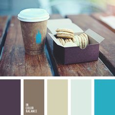 Muted violet, shades of brown, white-blue and bright blue. This palette can be used in everyday and dynamic dining decor: for color decoration of the office coffee break, lunch with hot sandwiches and salads, tea table with oatmeal cookies. The combination of soothing shades and bright blue color will help to relax quickly and to make a fresh start.