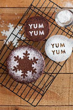 DIY stencil fun, with sugar-coated chocolate yum.