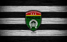 Download wallpapers FC Tosno, 4k, wooden texture, Russian Premier League, soccer, football club, Russia, Tosno, logo, art, football, Tosno FC