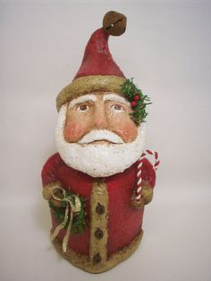 This sweet and uniquely shaped chubby guy stands 7 inches high and is about 4 inches across. He is made from a paper mache/ sawdust Primitive Santa, Holly Berries, Christmas Decorations, Christmas Ornaments, Paper Clay, Polymer Clay Crafts, Gourds, Snowmen, Candy Cane