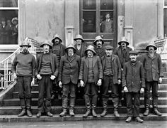 """25 Feb 1914. """"Fethard Lifeboat, group of lifeboat men"""". Fethard on Sea Ireland. Did these men see the Fethard Lifeboat Disaster, where 9 brave souls died attempting to save the crew of the """"Mexico"""",a Norwegian Schooner who had gone aground of the Keeragh Rocks during a raging storm."""