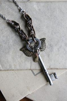 Jewelry Key to My Heart Skeleton Key Necklace