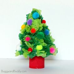 Mini Christmas Tree Craft for Kids Using Tissue Paper