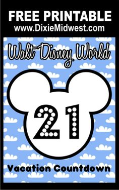 FREE Disney Vacation Count Down Printables #Disney #MickeyMouse #MouseEars