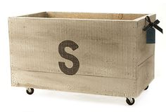Monogrammed reclaimed wood crate to hold throw blankets in living room?