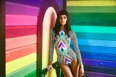 Inspiration for Mara Hoffman's latest resort collection stemsfrom a recent trip to Guatemala. The colors, textiles, and culture ofGuatemala come to life in ElCirco Mágico,a collection of wildly psychedelic and rainbowcolored swimwear. And itseems she found similarmagic right in
