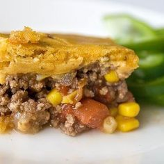 Barbeque Beef Casserole: Ground beef, onion, bell peppers, corn and diced tomatoes mixed with barbecue sauce, topped with cornbread and baked until golden brown.